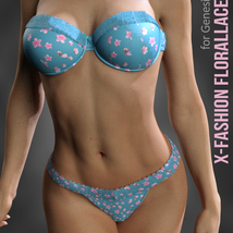 X-Fashion Floral Lace Lingerie for Genesis 8 Females image 2