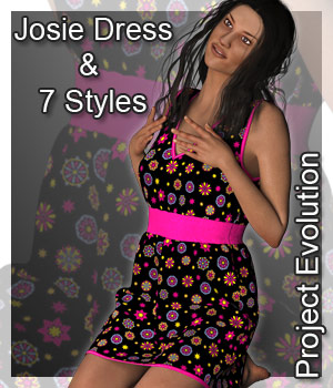 Josie Dress and 7 Styles for Project Evolution - Poser 3D Figure Assets karanta
