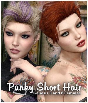 Punky Short Hair for Gen 3 and 8 DazStudio 3D Figure Assets RPublishing