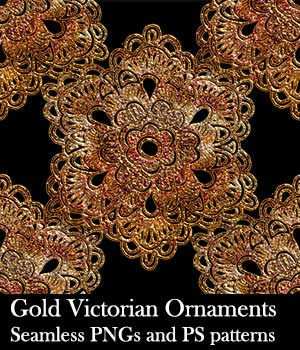 Gold Victorian Ornaments Seamless PNG and PS Patterns 2D Graphics biala