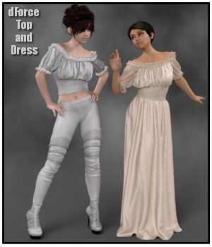 dForce - Wench Top and Dress for G8F 3D Figure Assets Lully