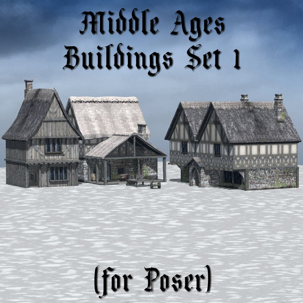 Middle Ages Buildings Set 1 for Poser