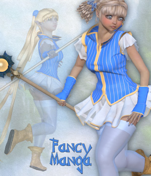 Fancy Manga_Clothing set for V4 A4 and Poser. 3D Figure Assets 3D Models Tipol