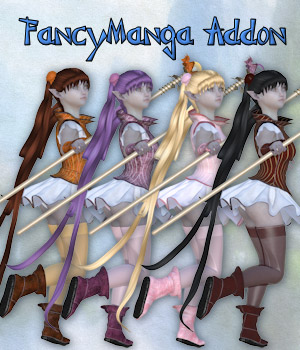 FancyManga Addon for Fancy Manga_Clothing set for V4 A4 and Poser. 3D Figure Assets Tipol