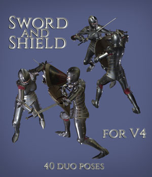 Sword and Shield for V4 MEGAPACK 3D Figure Assets PainMD