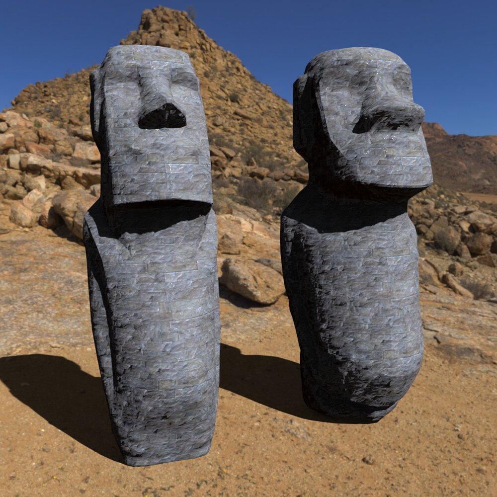 Easter Island Statues -3ds and obj - Extended License