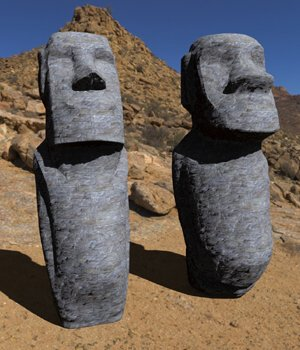 Easter Island Statues -3ds and obj - Extended License 3D Models Digimation_ModelBank