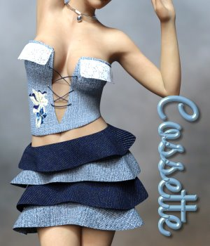 Cossette Dress for G3F 3D Figure Assets chasmata