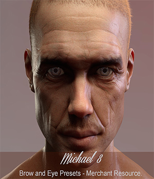 Brow and Eye Presets for Michael 8 - Merchant Resource 3D Figure Assets Merchant Resources nelmi