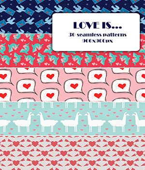 Love is - Seamless patterns 2D Graphics Merchant Resources romawka