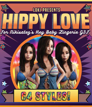 Hippy Love for Hey Baby Lingerie G3F 3D Figure Assets 3DLoki