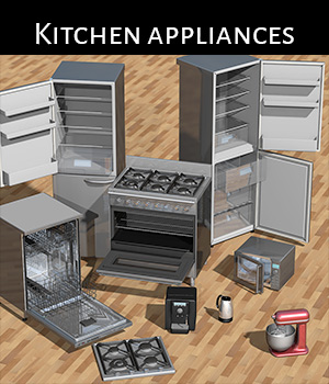 Everyday items, Kitchen appliances for Poser 3D Models 2nd_World