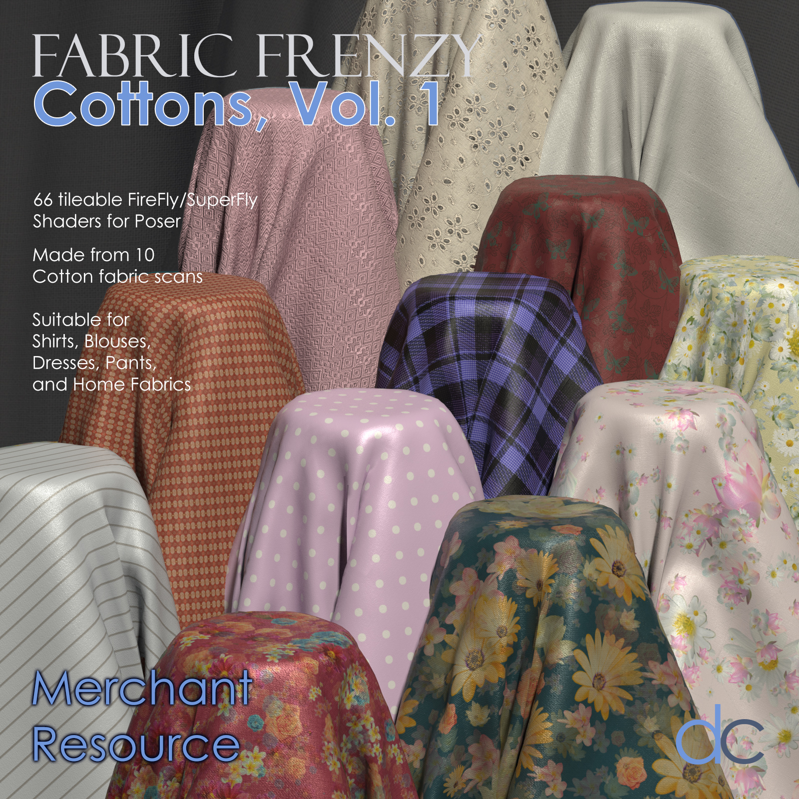 Fabric Frenzy: Cottons Vol 1 PBR Textures and Poser Shaders