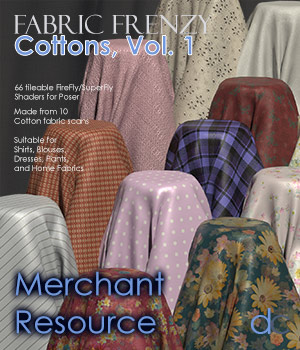 Fabric Frenzy: Cottons Vol 1 PBR Textures and Poser Shaders 3D Figure Assets Merchant Resources Deecey