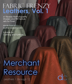Fabric Frenzy: Leathers Vol 1 PBR Textures and Poser Shaders 3D Figure Assets Merchant Resources Deecey