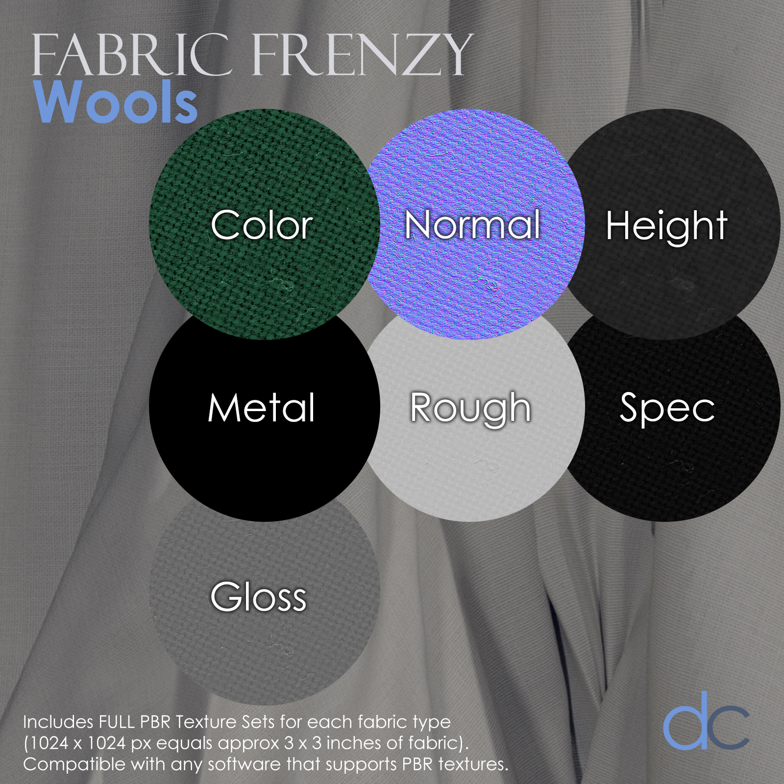 Fabric Frenzy: Wools PBR Textures and Poser Shaders 3D