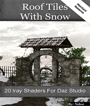 20 Roof Tiles with Snow Iray Shaders - Merchant Resource 3D Figure Assets Merchant Resources nelmi