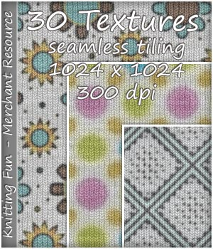 KW Knitting Fun - 30 Textures - Merchant Resource 2D Graphics Merchant Resources karanta