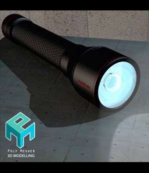 Mini flashlight in 3 versions - Extended license 3D Game Models : OBJ : FBX 3D Models Extended Licenses PolyMesher