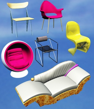 FAMOUS SEATS BUNDLE2 - EXTENDED LICENSE 3D Game Models : OBJ : FBX 3D Models Extended Licenses 3DClassics