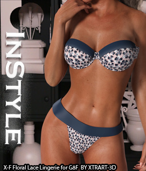 InStyle - X-Fashion Floral Lace Lingerie for Genesis 8 Females 3D Figure Assets -Valkyrie-