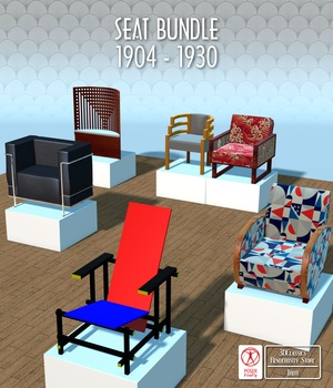 FAMOUS SEATS BUNDLE1 ( prop for POSER ) 3D Models 3DClassics