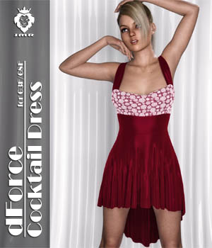 JMR dForce Cocktail Dress for G3F and G8F 3D Figure Assets JaMaRe