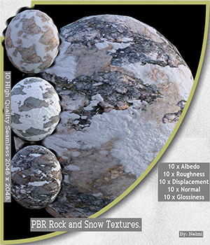 10 Rock and Snow PBR Textures with Maps - Merchant Resource 2D Graphics Merchant Resources nelmi