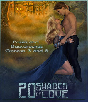 20 Shades of Love - Backgrounds and poses for G3-G8 2D Graphics 3D Figure Assets ilona