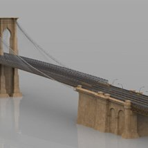 Brooklyn Bridge for 3ds and obj - Extended License image 2