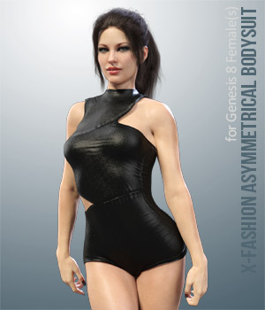 X-Fashion Asymmetrical Bodysuit for Genesis 8 Females 3D Figure Assets xtrart-3d