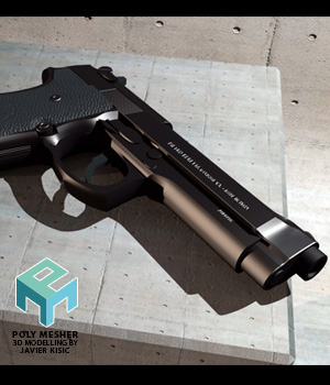 Beretta 9M - high detail - Extended License 3D Game Models : OBJ : FBX 3D Models Extended Licenses PolyMesher