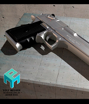 Desert Eagle - high detail gun - Extended License 3D Game Models : OBJ : FBX 3D Models Extended Licenses PolyMesher