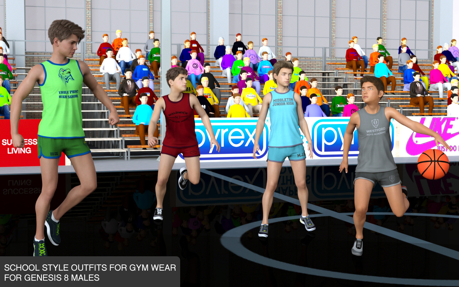 School Sports Outfits for Gym Wear for Genesis 8 Males
