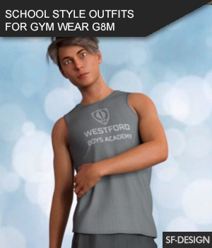 School Sports Outfits for Gym Wear for Genesis 8 Males 3D Figure Assets SF-Design