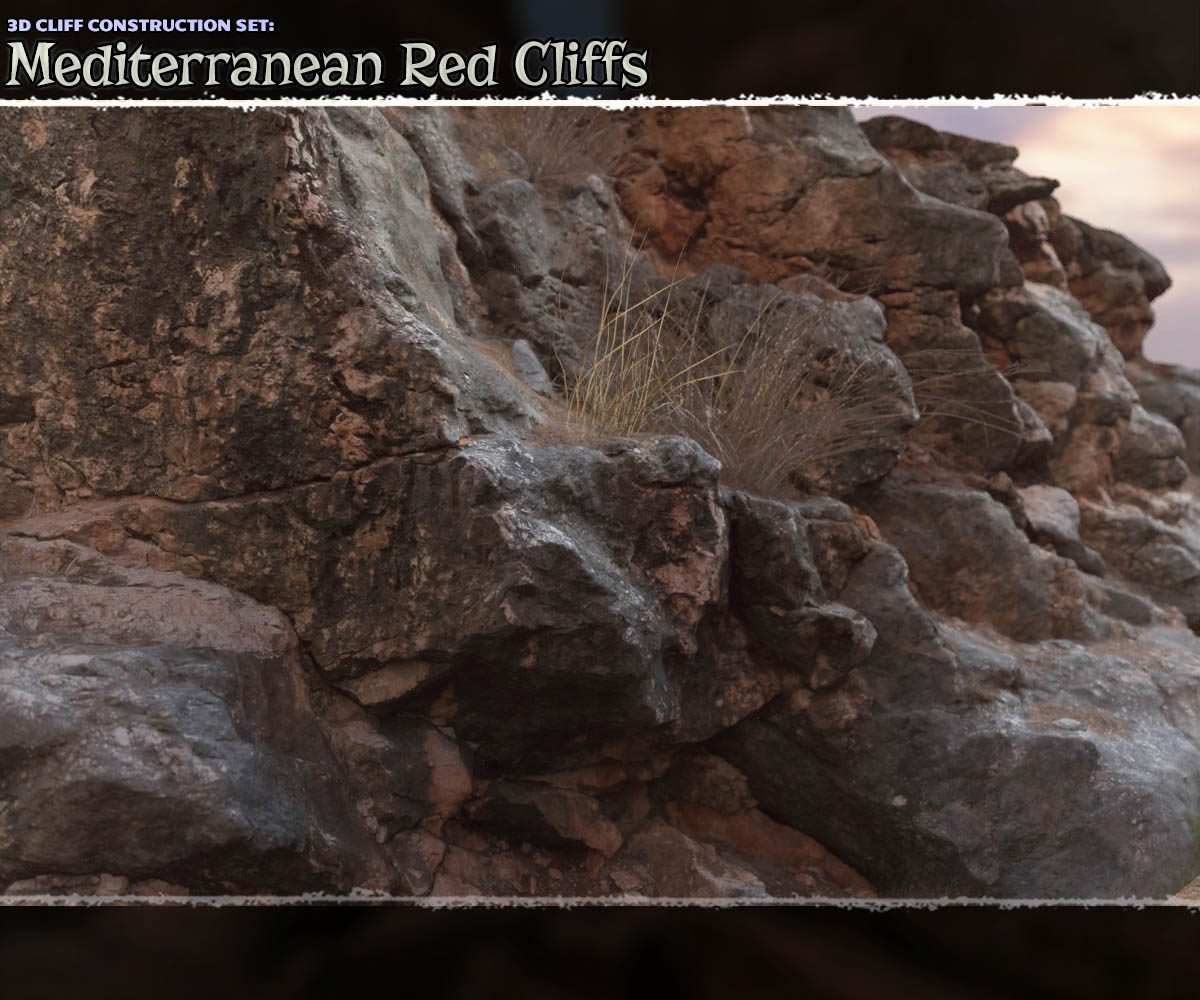 3D Cliff Construction set: Mediterranean Red Rocks by ShaaraMuse3D