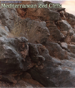 3D Cliff Construction set: Mediterranean Red Rocks 3D Models ShaaraMuse3D