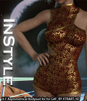 InStyle - X-Fashion Asymmetrical Bodysuit for Genesis 8 Females