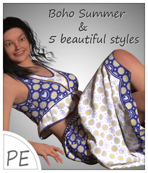 Boho Summer and 5 Styles for Project Evolution - Poser 3D Figure Assets karanta