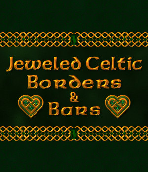 Jeweled Celtic Borders and Bars w/Bonus Gift 2D Graphics Merchant Resources fractalartist01