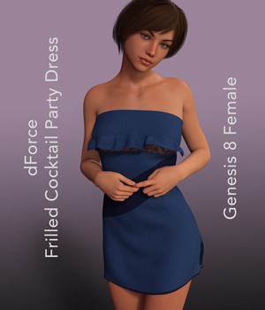 Frilled Cocktail Party Dress for Genesis 8 Females