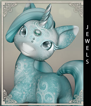 Jewels for Precious Unicorn 3D Figure Assets sandra_bonello