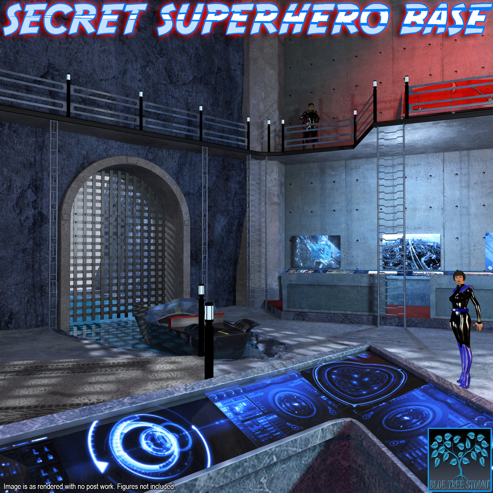 Secret Superhero Base for Poser