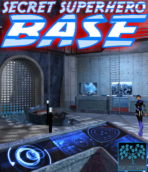 Secret Superhero Base for Poser 3D Models BlueTreeStudio