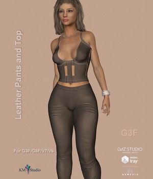 KM-Leather Pants and Top -  For G3F and G8F   Victoria 7 and 8 3D Figure Assets kmstudio2