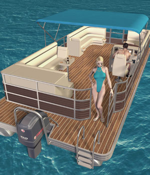 Pontoon Boat Set 3D Models Richabri
