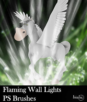 Flaming Wall Lights PS Brushes 2D Graphics biala