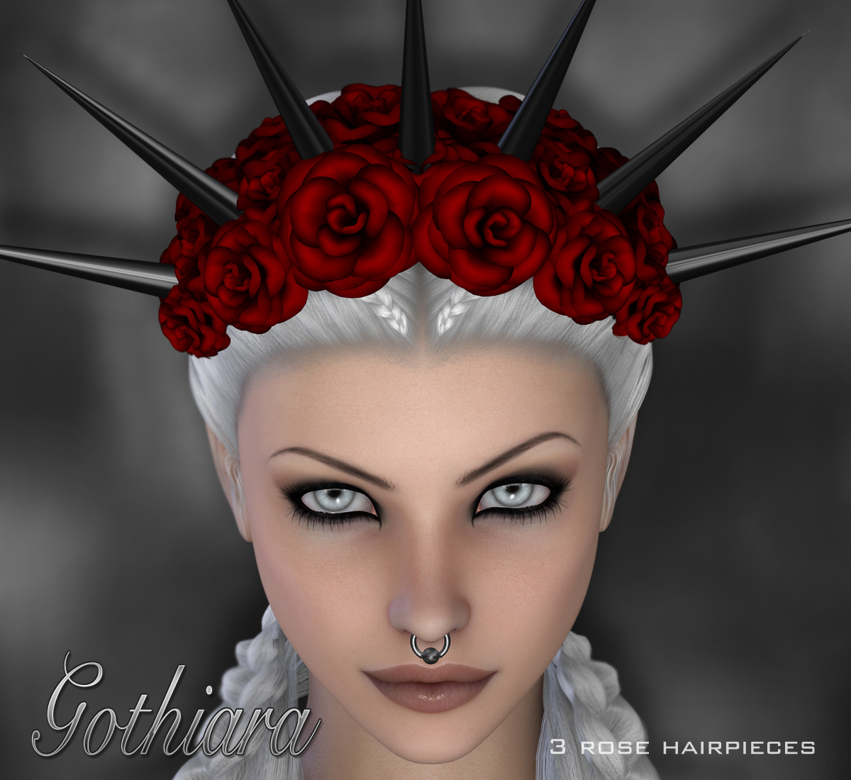 Gothiara Rose - Hair Piece Props by digiPixel