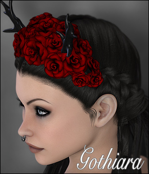 Gothiara Rose - Hair Piece Props 3D Figure Assets 3D Models DIGIpixel