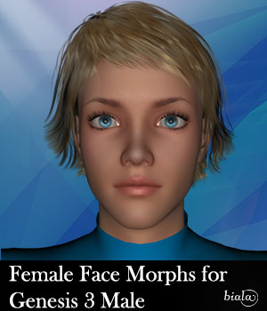 Female Face Morphs for Genesis 3 Male 3D Figure Assets biala